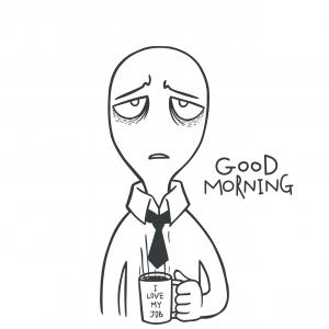 Tired Man Cartoon